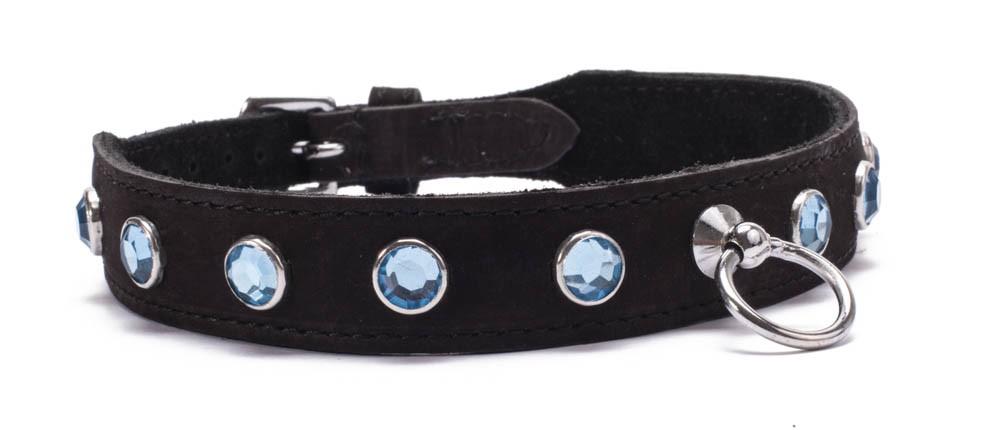 Кожен нашийник със сини кристали – Octane Crystal Collar – Light Blue