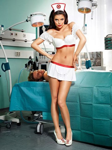 Медицинска сестра, изключително предизвикателен комплект – Sheer Suspenderhose O/S