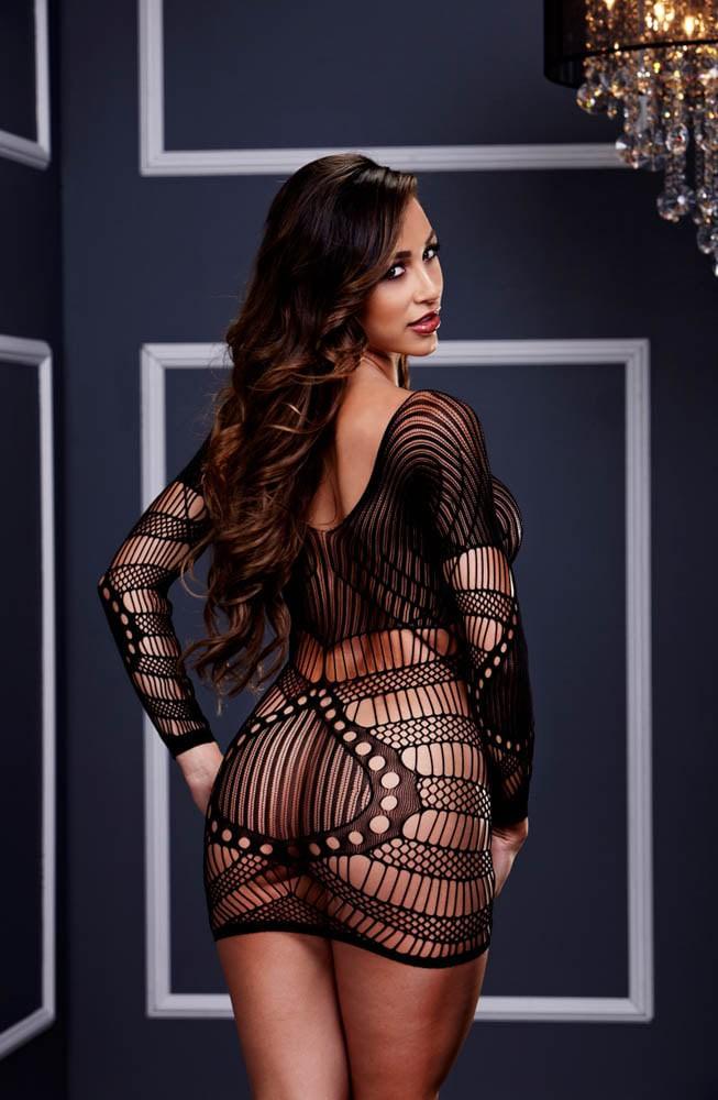Мини секси рокля с дълги ръкави – Longsleeve Lace Mini Dress, Baci Lingerie