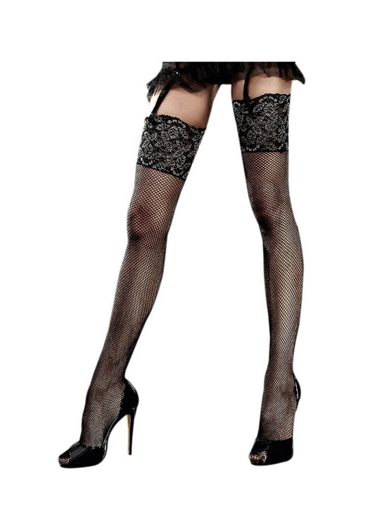 Дълги черни, чорапи с широка лента в горната част – Sheer Suspenderhose, One Size