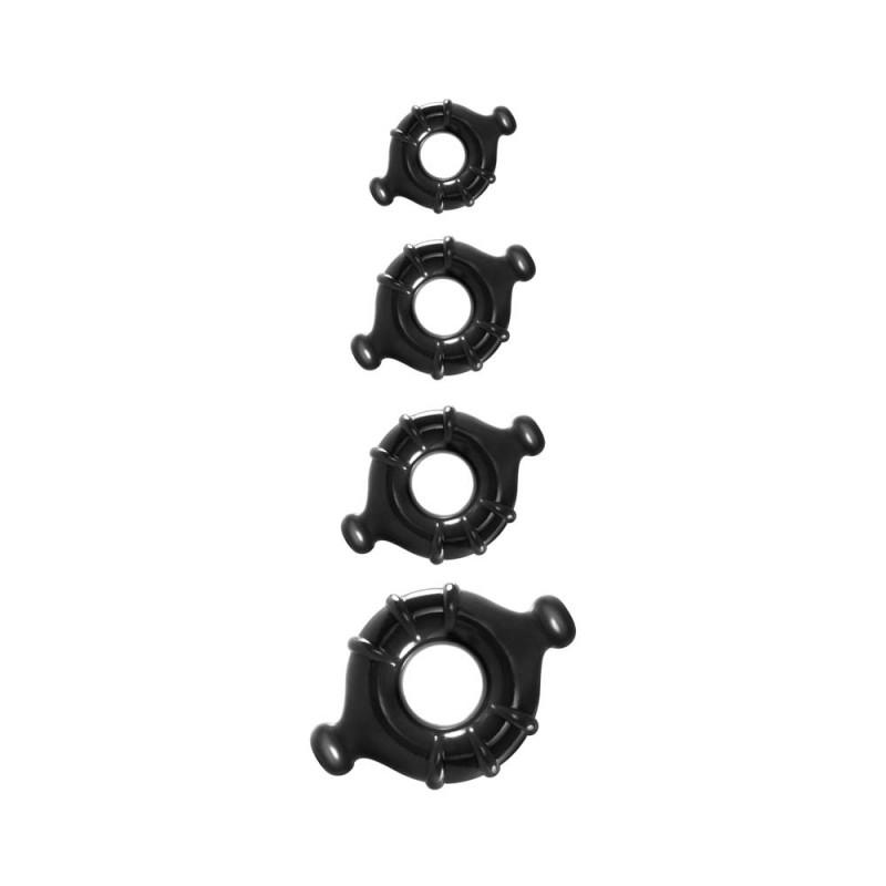 Комплект от 4 уникални пенис пръстена - Renegade Vitality Rings Black — 7