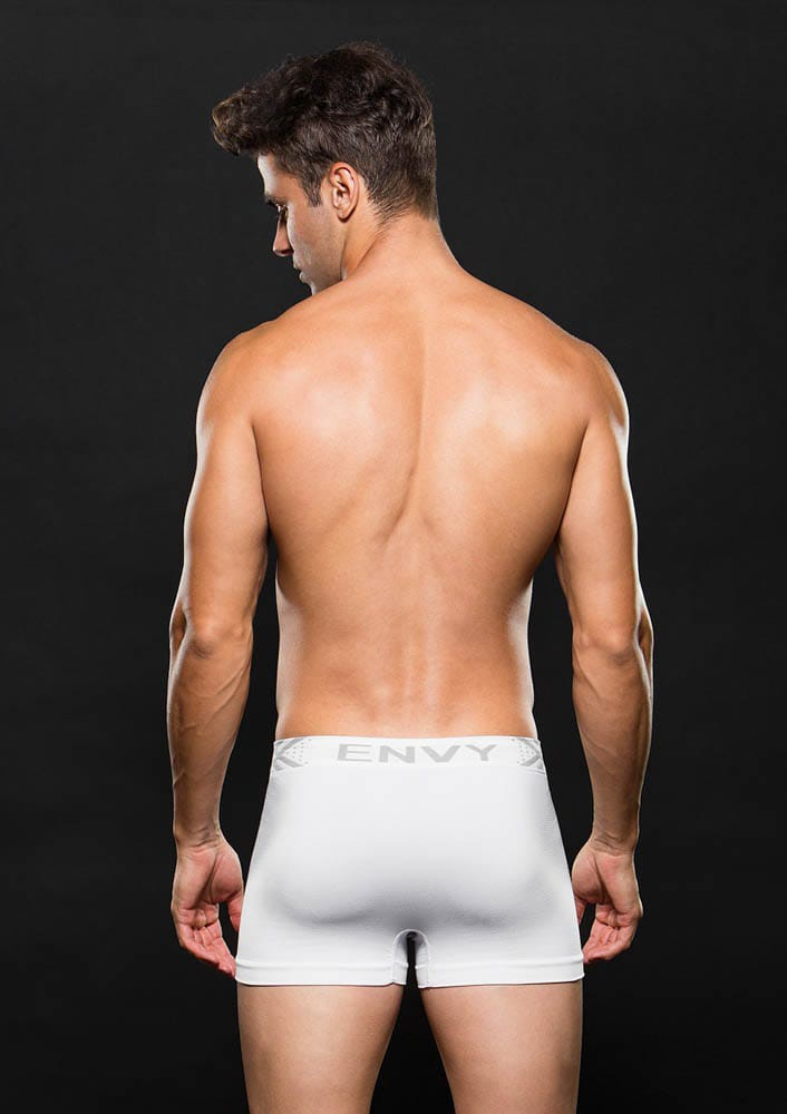 Безшевни боксерки M/L – Seamless Trunk White w/ Gray Logo M/L