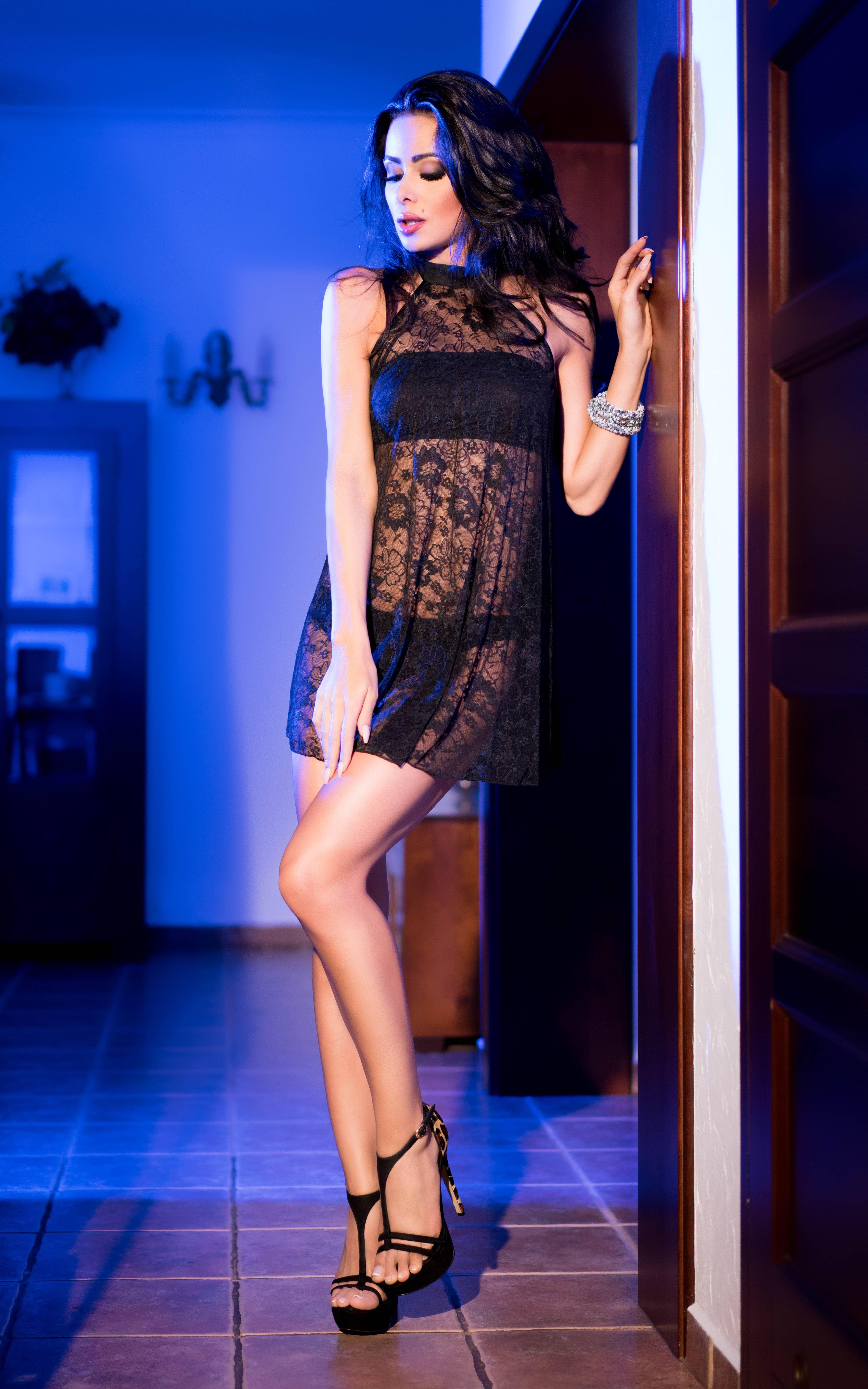 Дантелен сет, рокля, топ и бельо – CR 4082  S/M Black Lacedress with Top and Panty