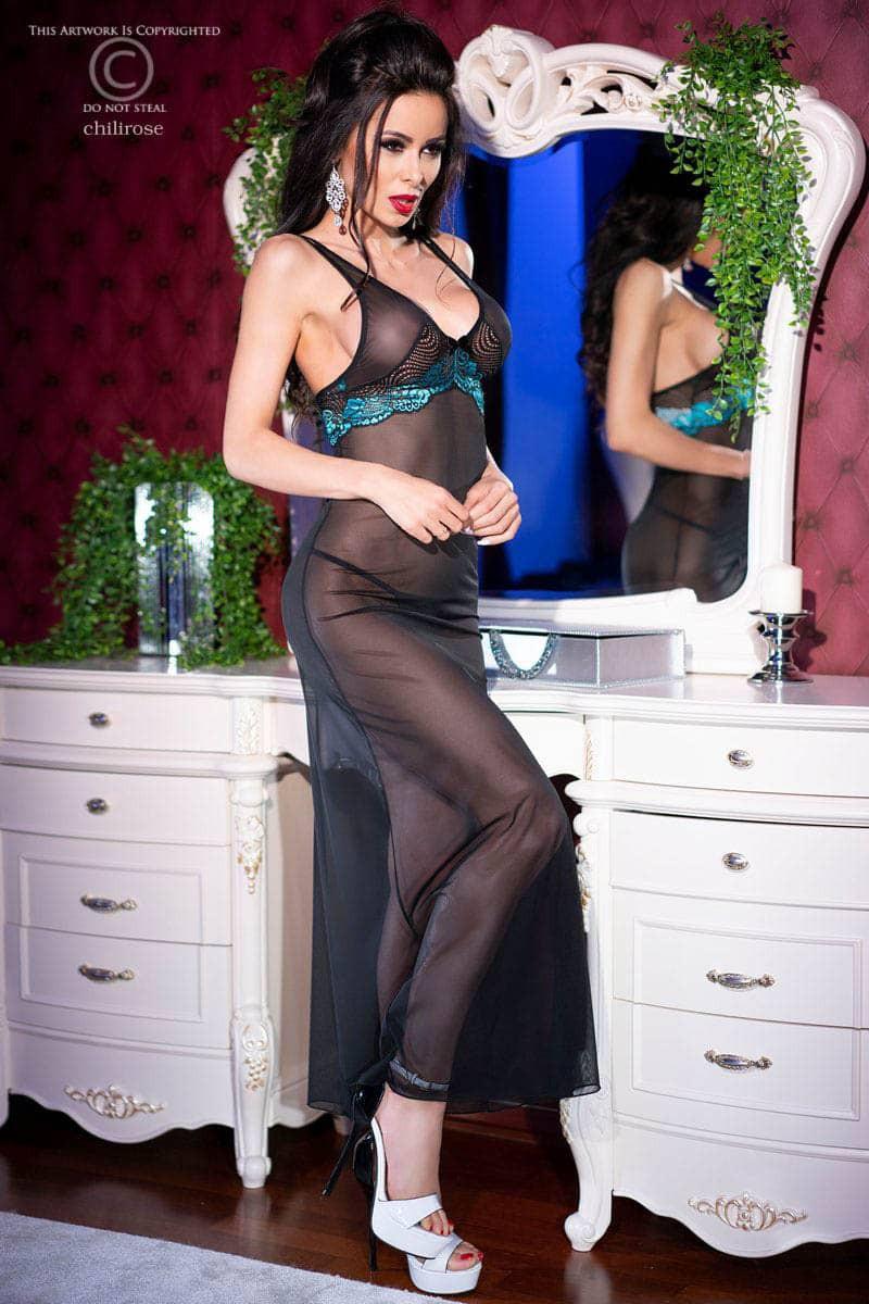 Изискана дълга рокля и прашки, размер L – CR 4215 L Black/Blue Longgown + String