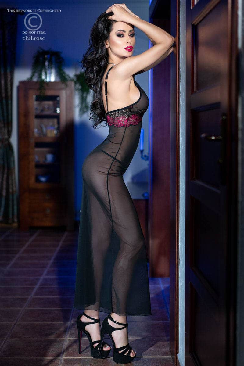 Изискана дълга рокля и прашки, размер L – CR 4215 L Black/Pink Longgown + String