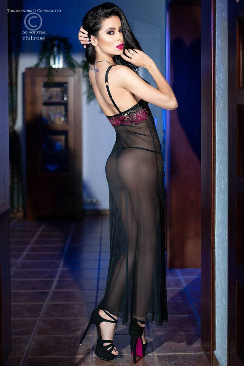 CR 4215  S  Black/Pink Longgown+String
