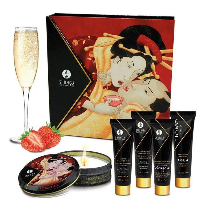Комплект, масажна свещ и интимна козметика – Geishas Secret Kit Strawberry Wine