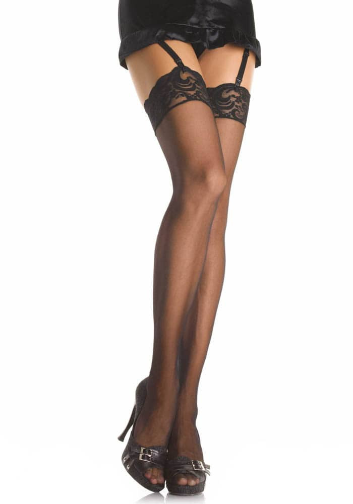 Thigh Highs w Lace Top Black S-L