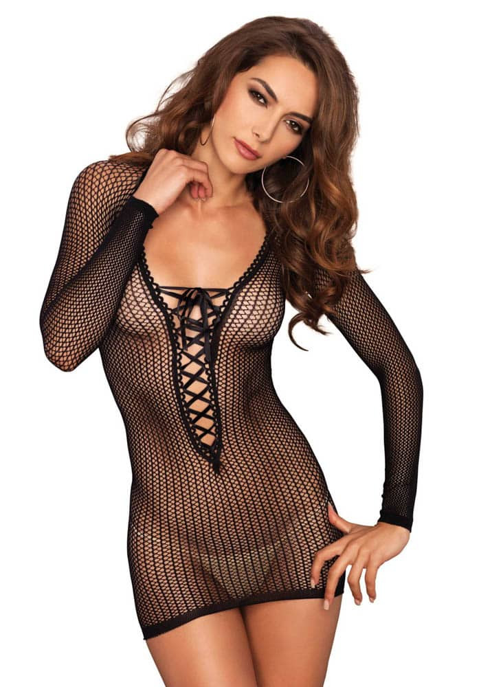 Warning net lace up mini dress black O/S