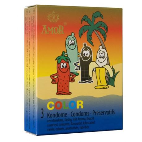 Презервативи, удоволствие с вкус, 3бр. – Amor Color