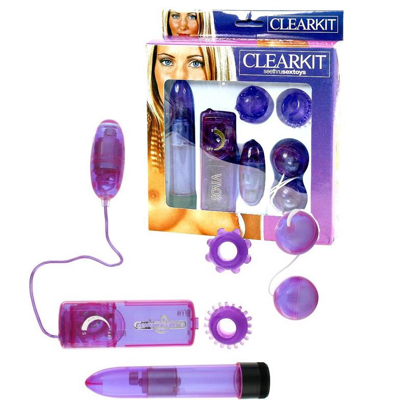 Секс комплект от разнообразни продукти – Clear Vibrator Kit