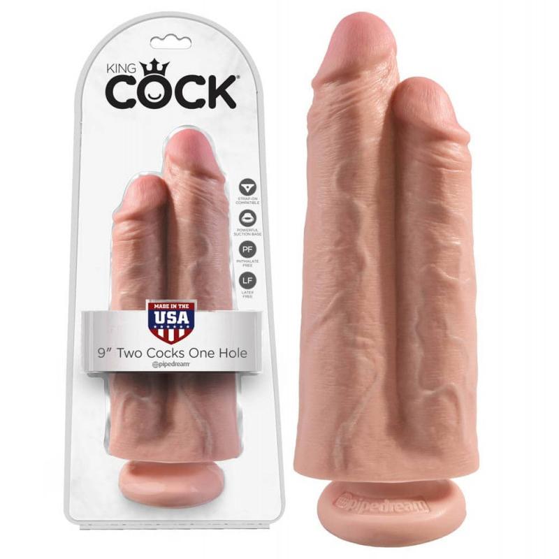 Дилдо 2 в 1, телесен цвят, 25см. – Two Cocks One Hole