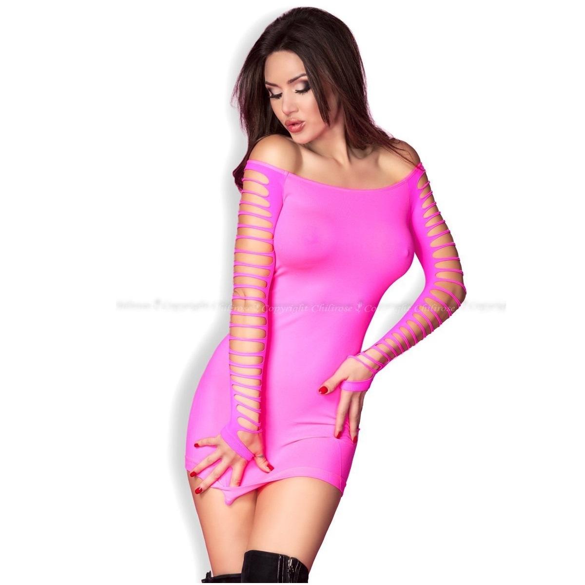Еротична мини рокля в розов цвят – CR 3608 S/M