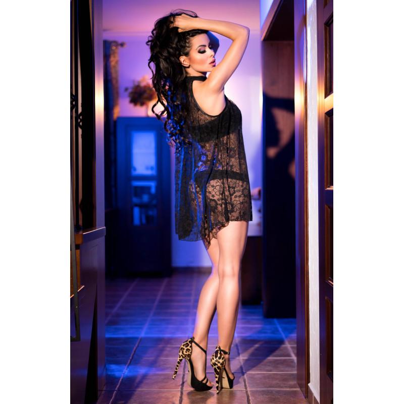 Дантелен сет, рокля, топ и бельо – CR 4082 L/XL Black Lacedress with Top and Panty
