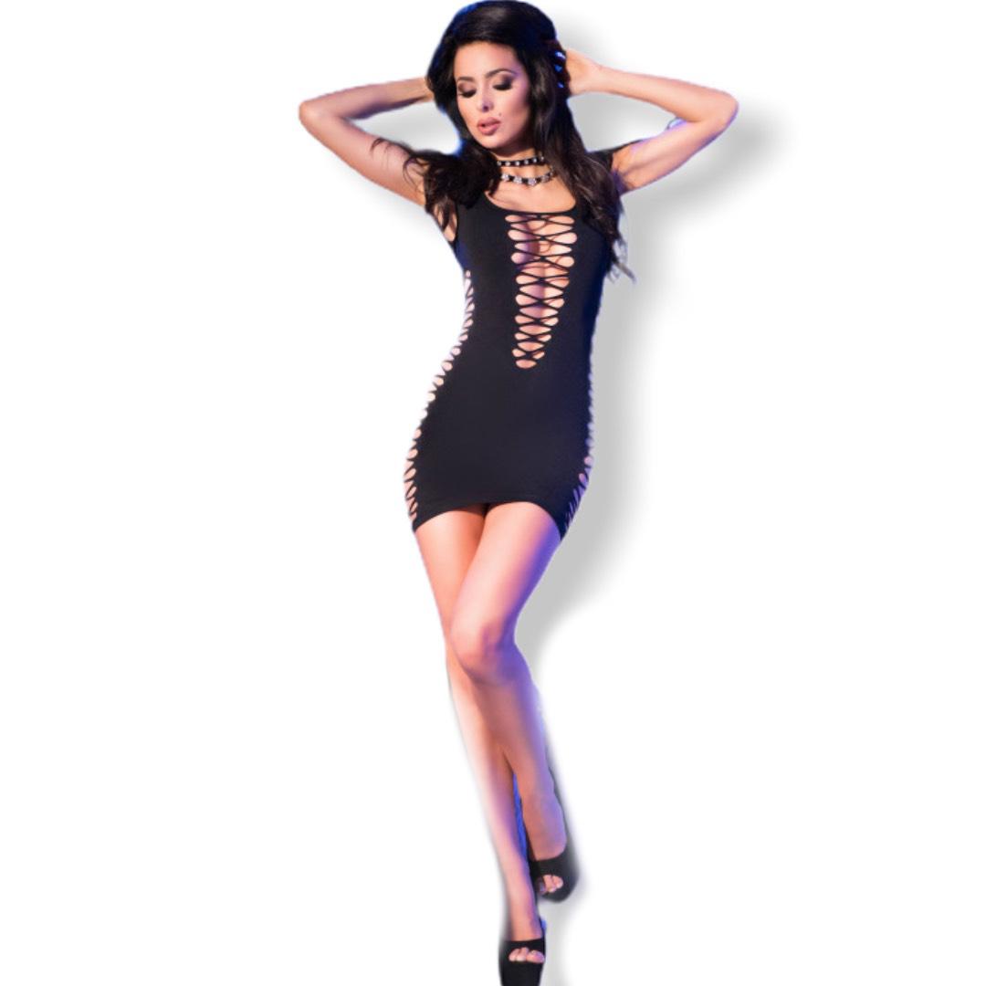 Еластична мини рокля, черна – CR 4096 S/M