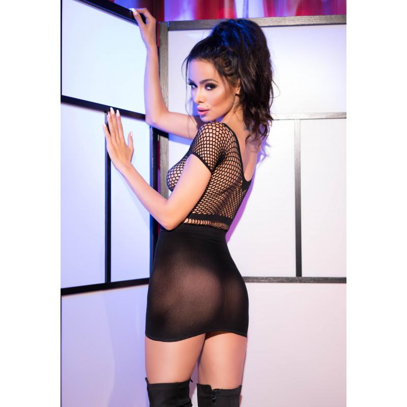 Мрежеста мини рокля, сладко изкушение в черен цвят – CR 4108 S-L Black Superstretch Seamless Minidress