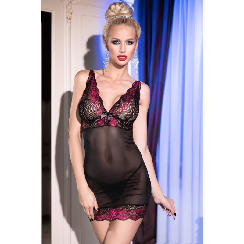 Нощница от тюл и дантела с прашки, размер M – CR 4211 M Black/Pink Babydoll + String