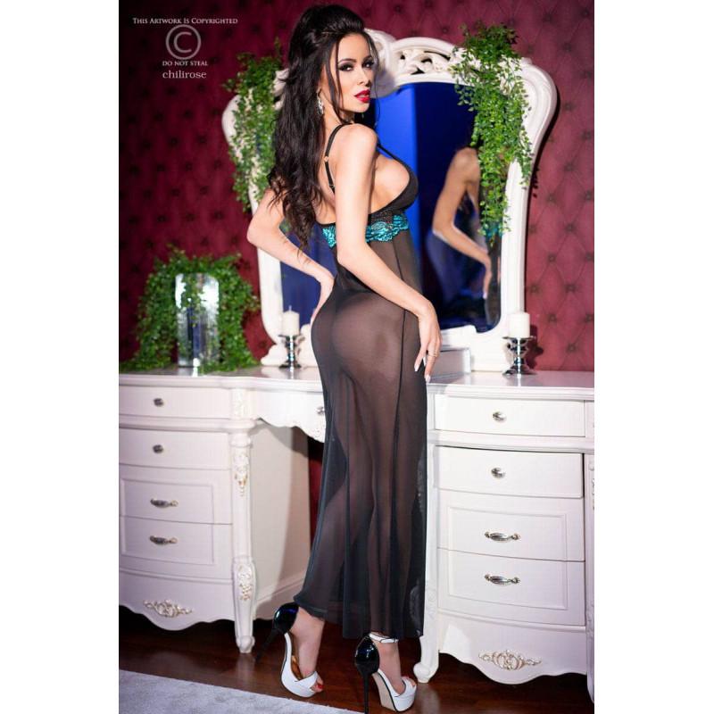 Изискана дълга рокля и прашки, размер S – CR 4215 S Black/Blue Longgown + String