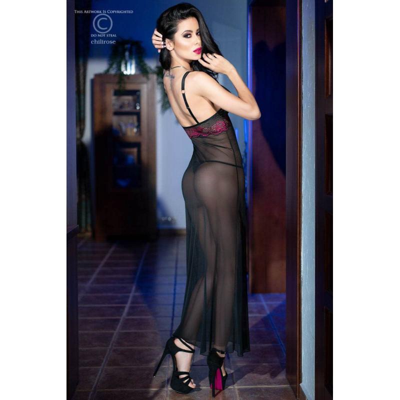 Изискана дълга рокля и прашки, размер S – CR 4215 S Black/Pink Longgown + String