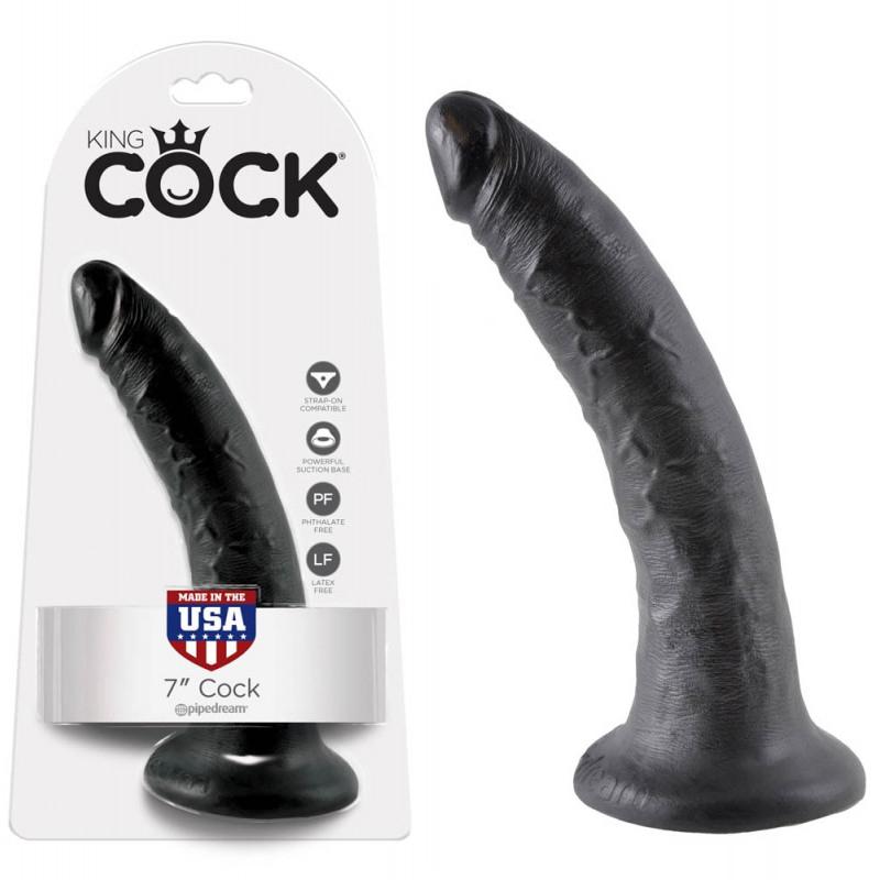 Топ дилдо с вакуумна основа,17,8см. – King Cock, Black
