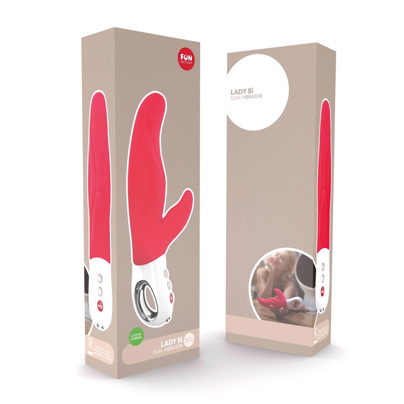 Стилен вибратор с клитор стимулатор, червен – Lady B