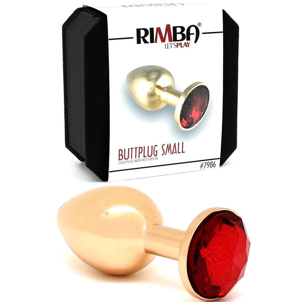 Златен метален плъг с червени кристали, 7,3см. – Butt plug, metal