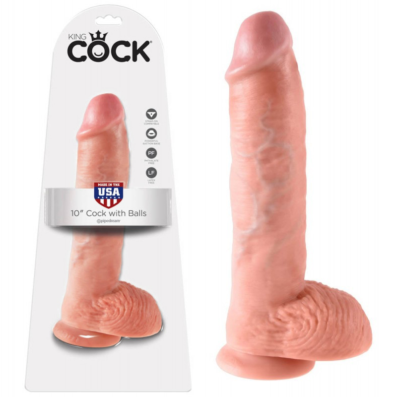 Дилдо със задоволителен размер, 25,4см. – King Cock, Flesh