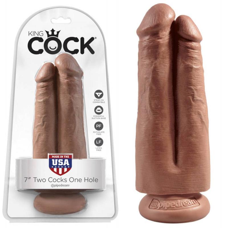 Дилдо 2 в 1, бежов цвят, 20см. – Two Cocks One Hole