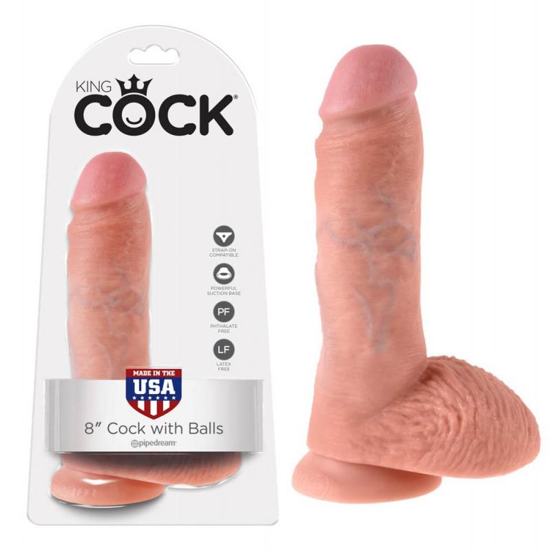 Топ дилдо с тестиси в телесен цвят, 20,3см. – King Cock
