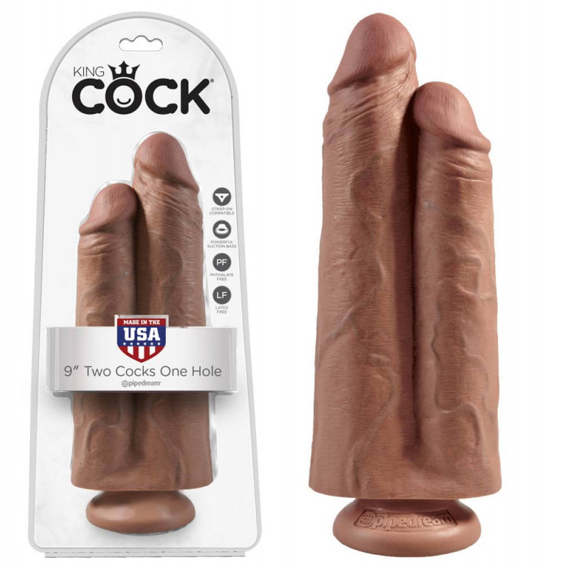 Дилдо 2 в 1, бежов цвят, 25см. – Two Cocks One Hole