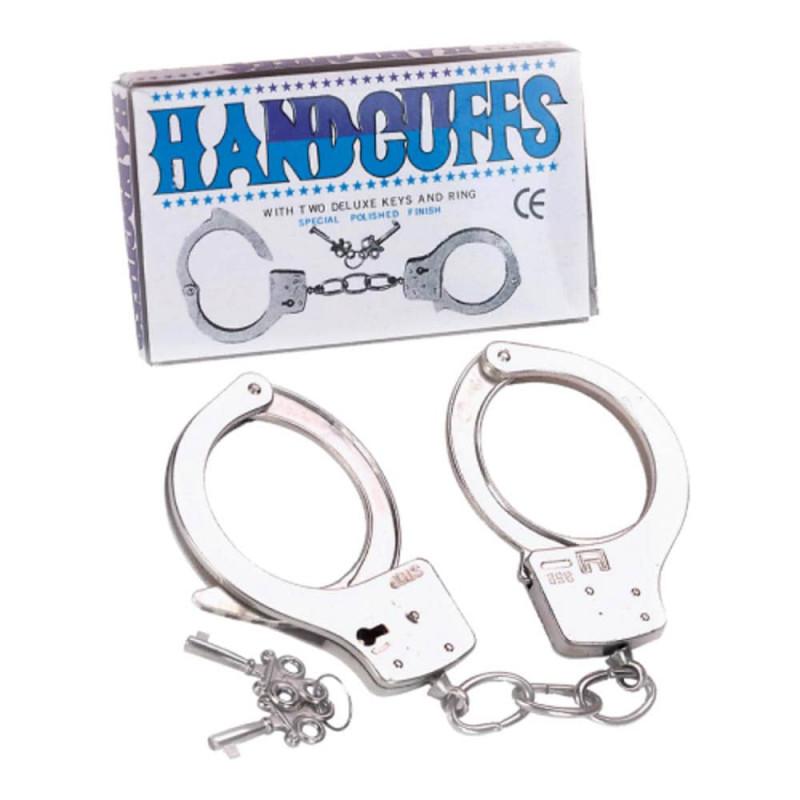 Полицейски метални белезници с ключове – Large Metal Handcuffs