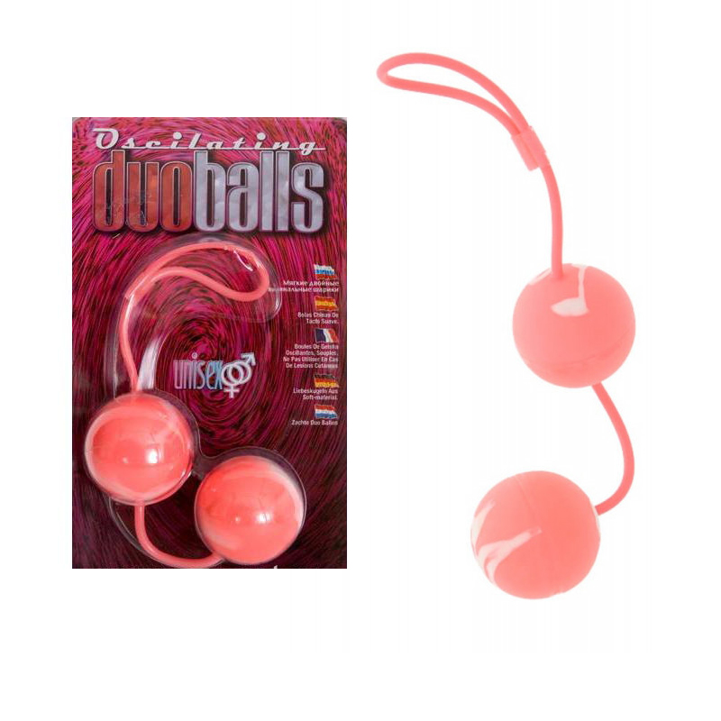 Вагинални топчета с вътрешни тежести, розови – Marbilized Duo Balls