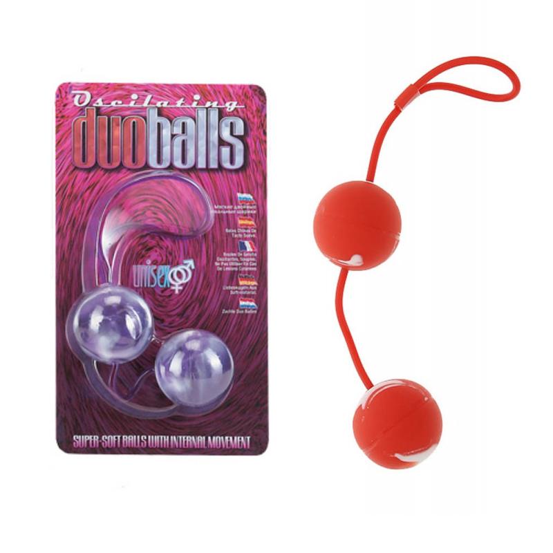 Вагинални топчета с вътрешни тежести, червени – Marbilized Duo Balls