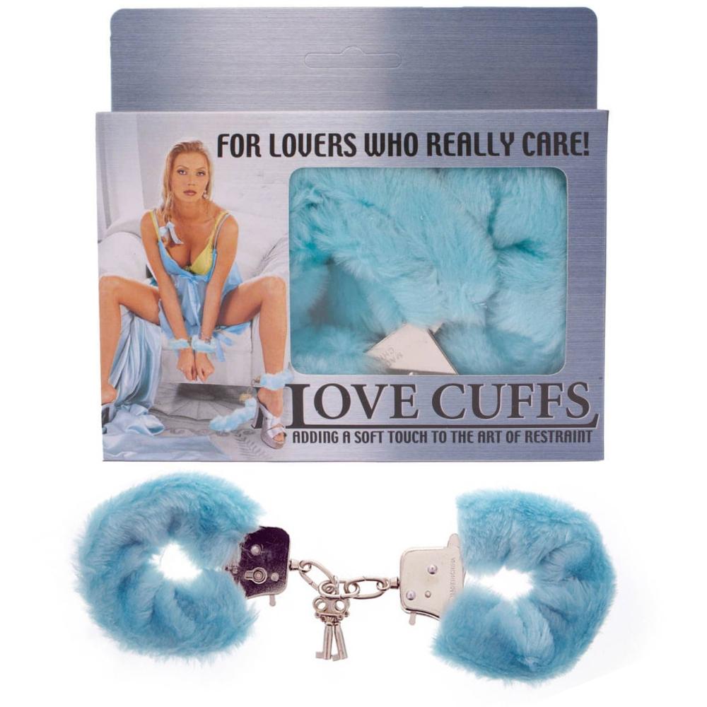 Метални белезници с плюш в син цвят – Metal Handcuff with Plush Blue
