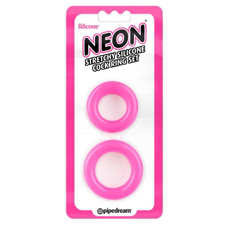 Неонови пенис пръстени в розов цвят, много разтегливи – Neon Stretchy Silicone Cock Ring Set