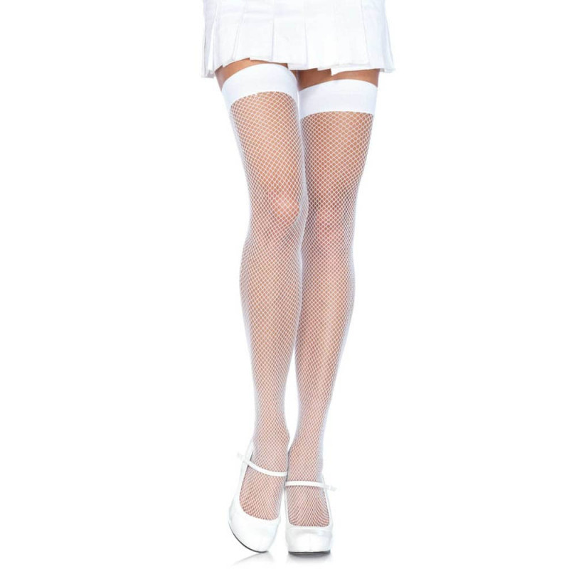 Дълги чорапи в невинен бял цвят – Nylon Fishnet Stocking