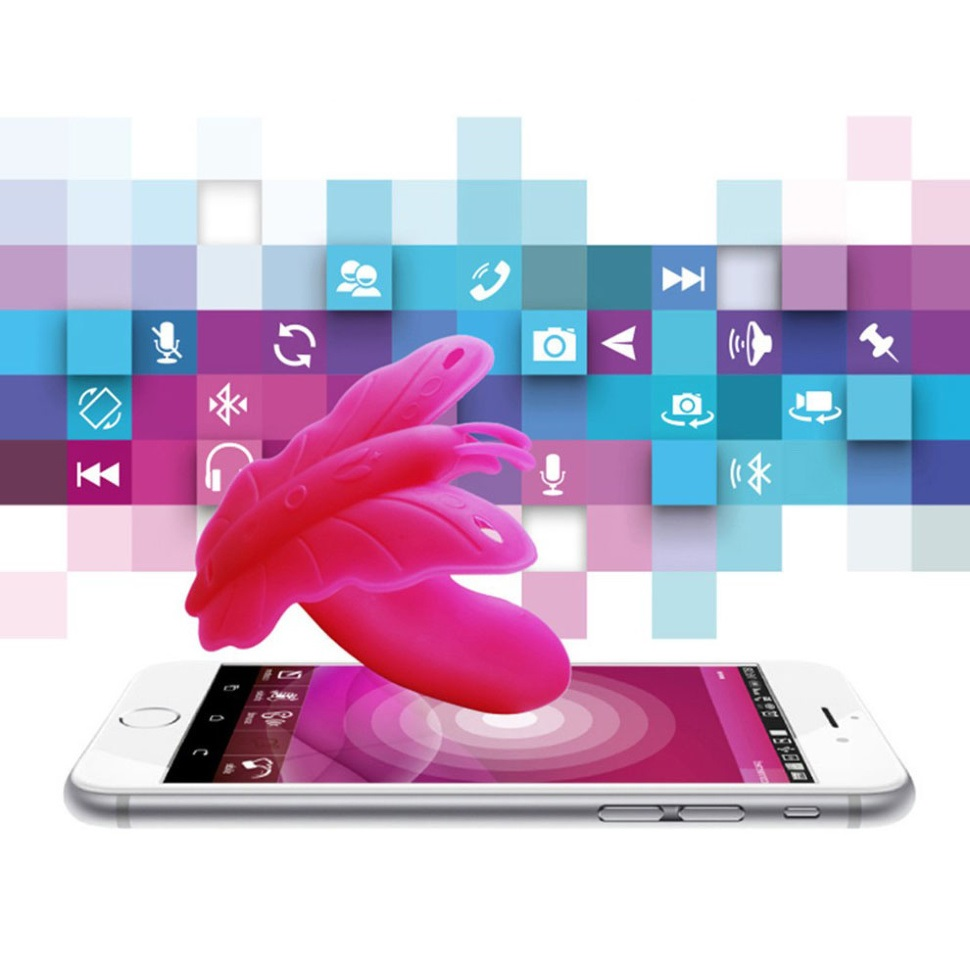 Вагинален и клитор стимулатор, смартфон контролирана пеперуда – Realov Lydia I Smart Butterfly Vibe Pink