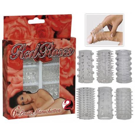 Комплект от 6 броя пенис ръкави – Red Roses