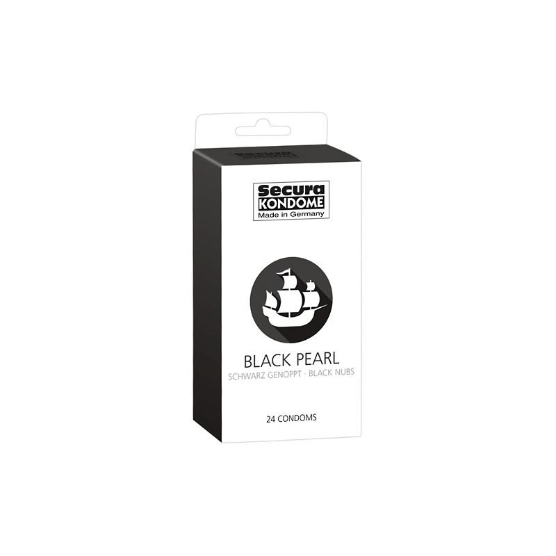 Презервативи с оребрения 24 броя – Secura Black Pearl 24pcs