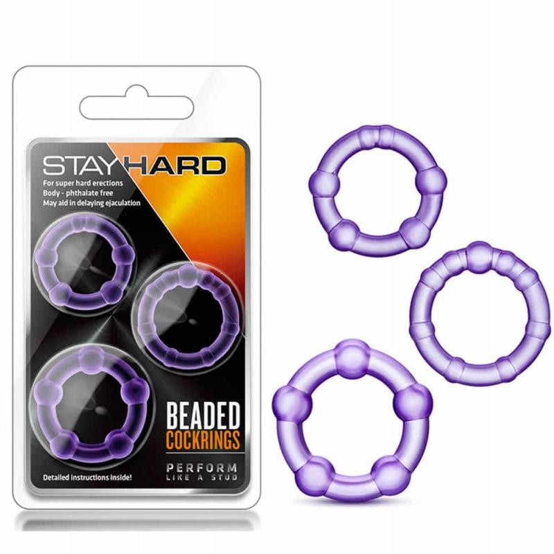 Пенис пръстени с мъниста в лилав цвят – Stay Hard Beaded Cockrings