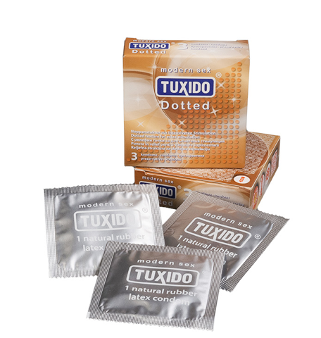 Презервативи с релефна повърхност 3 броя – Tuxido Dotted