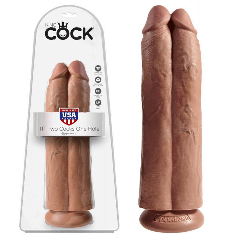 Дилдо 2 в 1, бежов цвят, 30см. – Two Cocks One Hole
