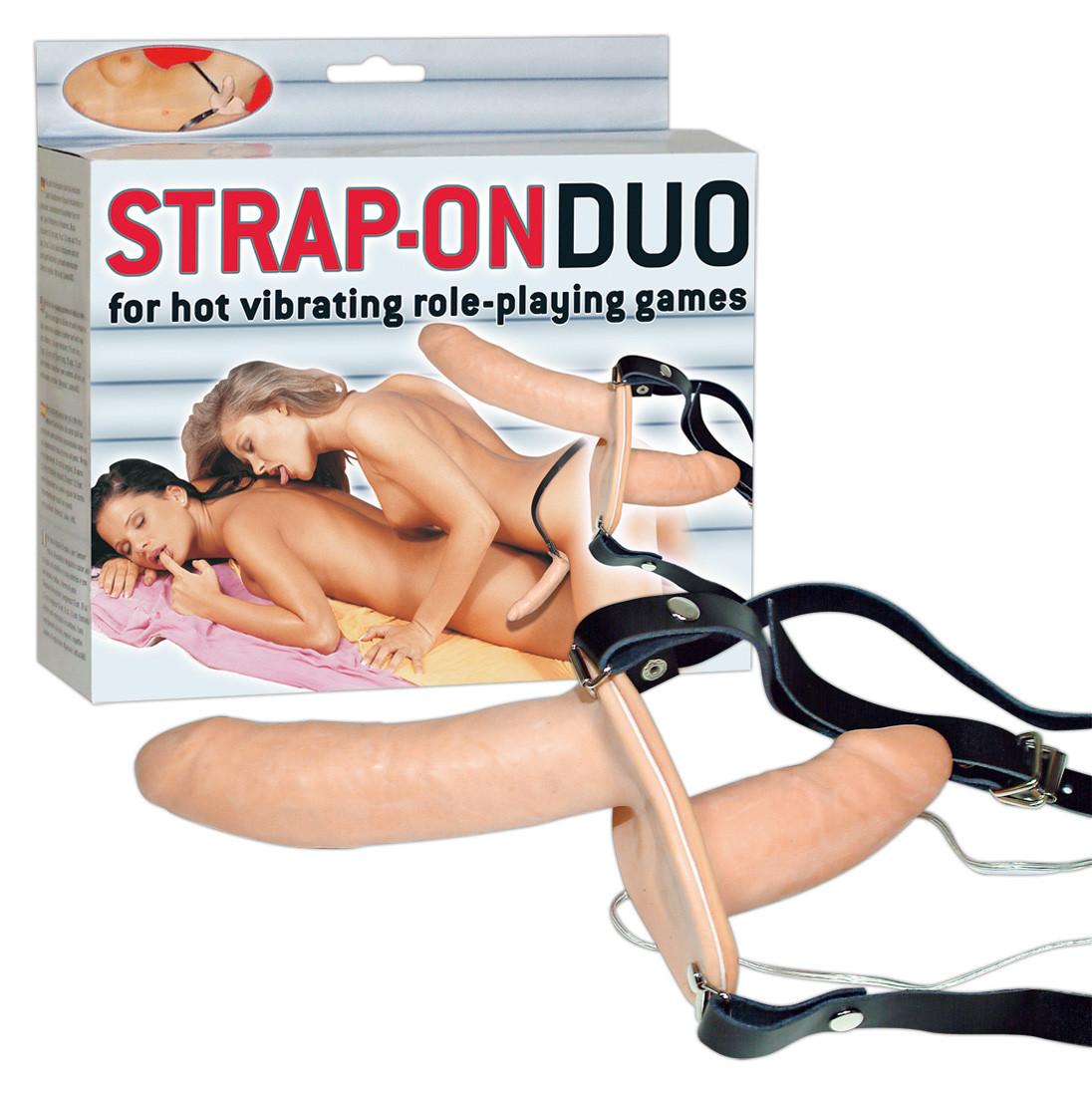 Двоен страп-он с вибрации, 17см. – Strap-On Duo Vibro