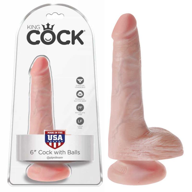 Топ дилдо с тестиси в телесен цвят, 17,8см. – King Cock Flesh