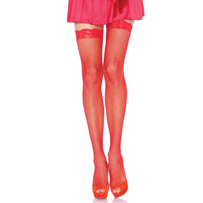 Мрежести чорапи с дантела, червени – Fishnet Stockings Lace Top
