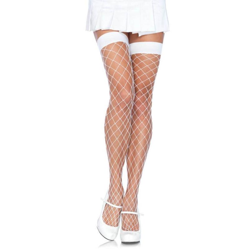 Дълги чорапи с широка мрежа, бели – Leg Avenue