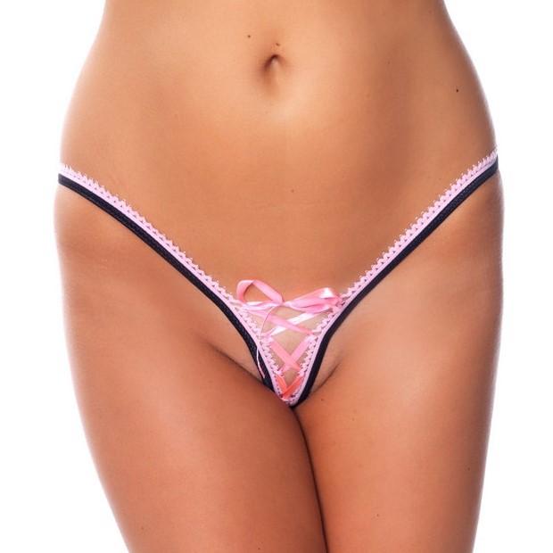 Секси прашки с панделки в розов цвят – G-String Amorable