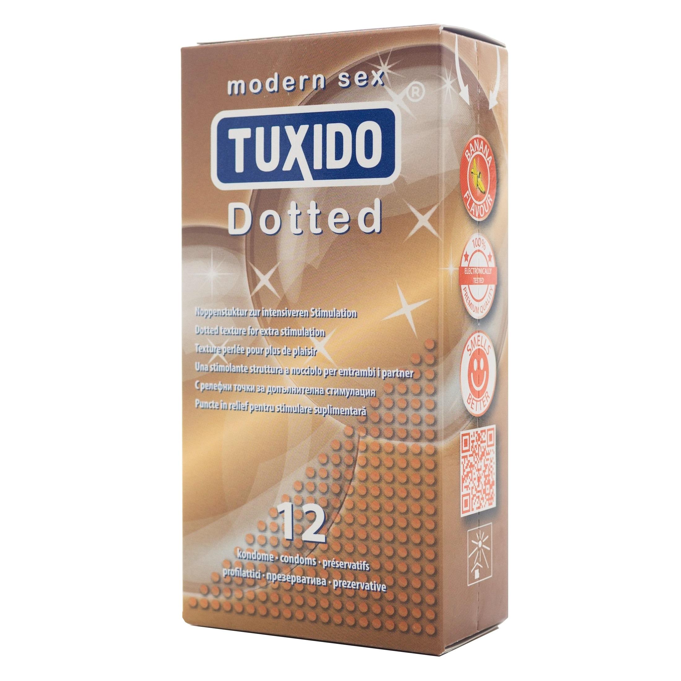 Презервативи с релефна повърхност, 12 броя – Tuxido Dotted