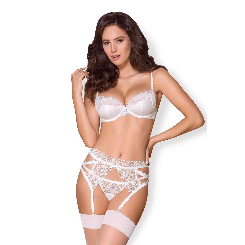 Секси сет в бял цвят, силно съблазнителен – 871-SEG-2 3 pcs set S/M