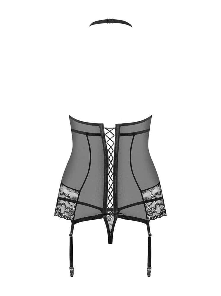 838-COR-1 corset & thong black  S/M